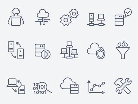 tecnología: de análisis de bases de datos iconos Vectores