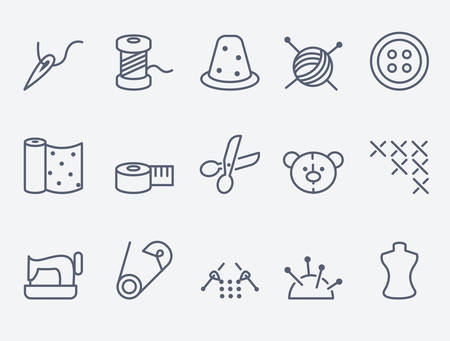 sew: Sewing and needlework icons Illustration