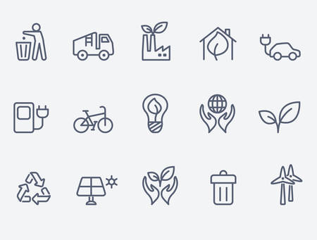 earth pollution: Ecology icon set