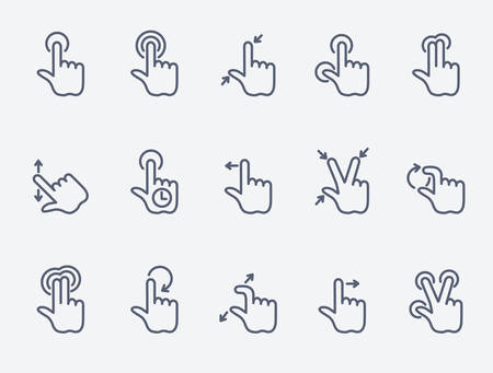 scroll shape: Touch gestures icons