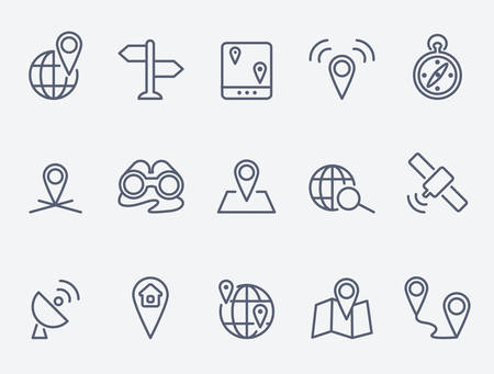 thin: Location icons Illustration