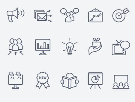 relaciones publicas: conjunto de iconos de marketing