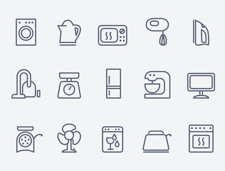 Set van huishoudelijke apparaten iconen Stock Illustratie