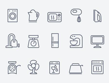 gospodarstwo domowe: Zestaw urządzeń gospodarstwa domowego ikony Ilustracja