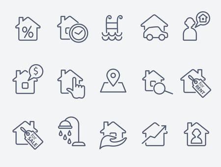 iconos de bienes raíces Ilustración de vector