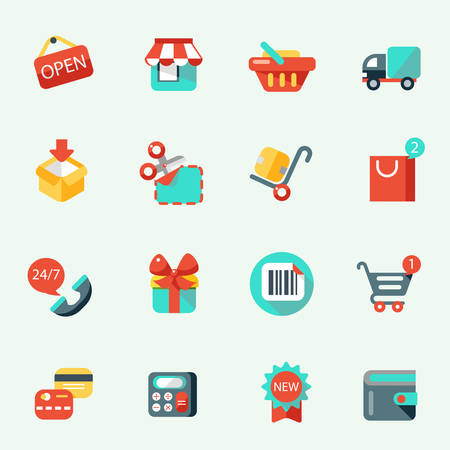 nomenclature: Shopping icons in cartoon style, flat design