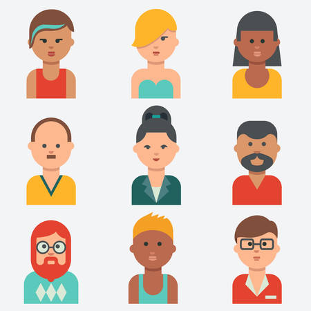 african woman at work: People icons, flat design