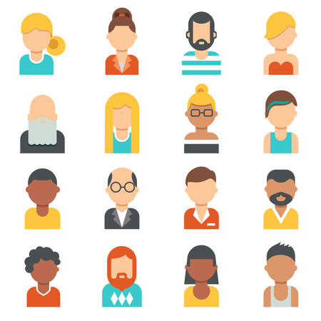 nationalities: People icons. Young, seniors , males and females profile pictures. Different nationalities, hair styles and clothes. Flat design.