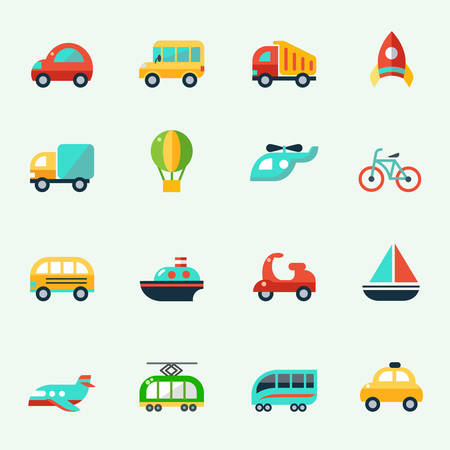 Transport pictogrammen in cartoon-stijl, platte ontwerp