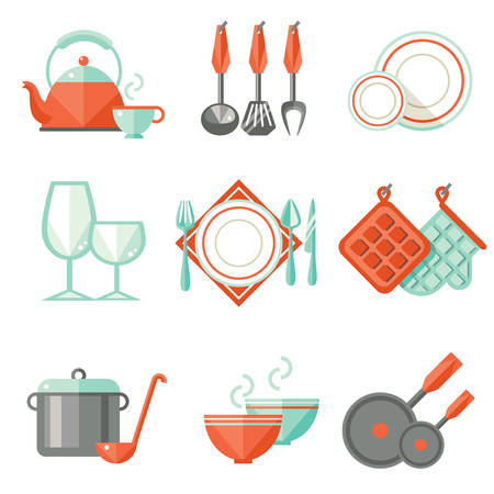 preparing food: Kitchen utensils, flat design Illustration