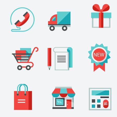 importer: Shopping icons , thin line style, modern flat design