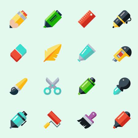 Schrijven en tekenen gereedschap pictogrammen in plat design