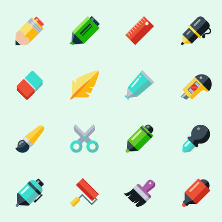 flat brush: Writing and drawing tools icons in flat design