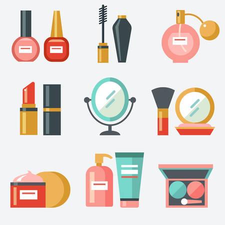 Cosmetic icons, flat design Stock Illustratie