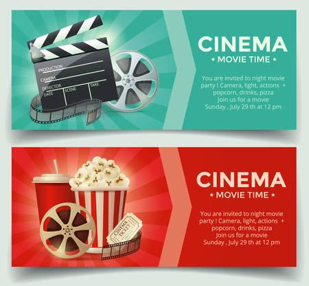cinta pelicula: Concepto del cine. ilustración vectorial Vectores
