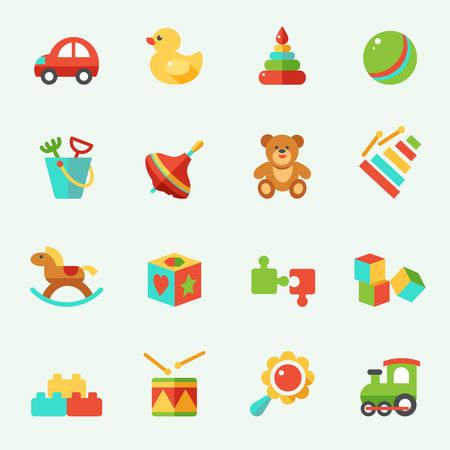 pull toy: Iconos del juguete, diseño plano