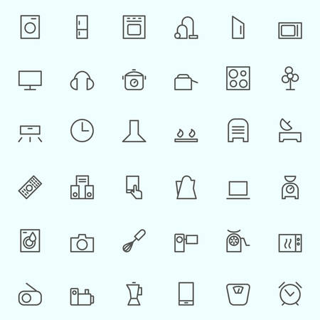 appliances: Set of household appliances icons, simple and thin line design