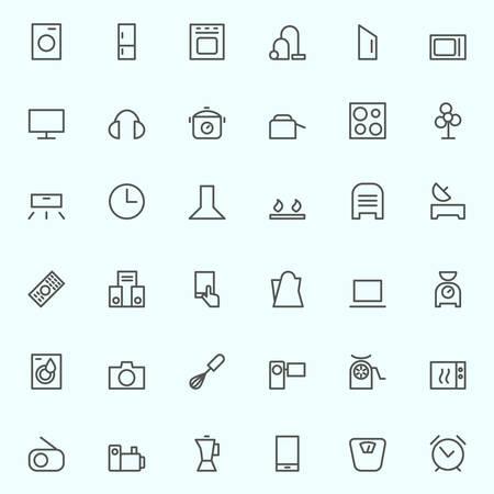 gospodarstwo domowe: Zestaw urządzeń gospodarstwa domowego ikon, proste i cienkiej konstrukcji linii Ilustracja