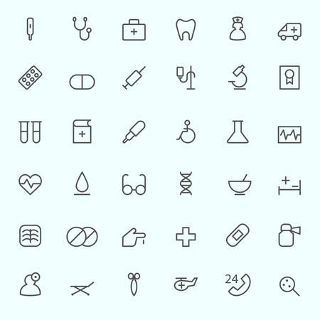 health icons: Medical and health care icons, simple and thin line design