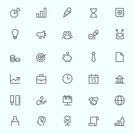 set the intention: Business, finance and marketing icons, simple and thin line design