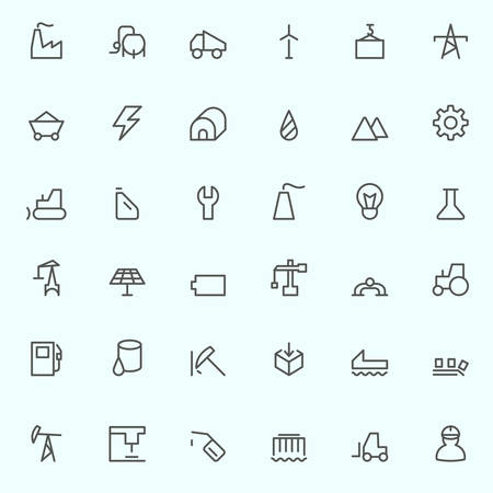 industry: Industry icons, simple and thin line design