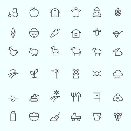 Farm icon set, simple and thin line design Reklamní fotografie - 58551593