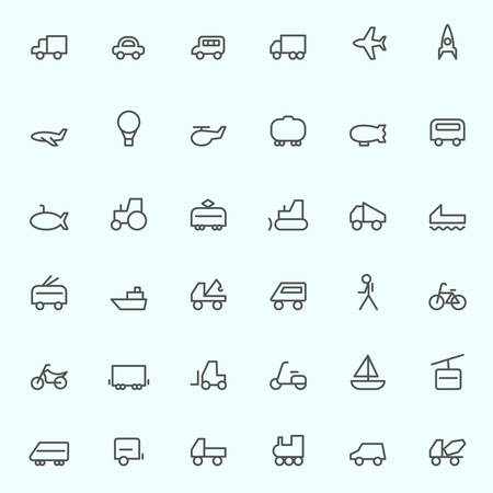 transport icons: Transport icons, simple and thin line design