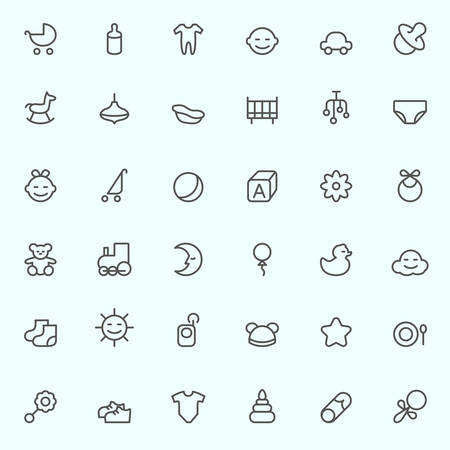 playpen: Baby icons, simple and thin line design Illustration