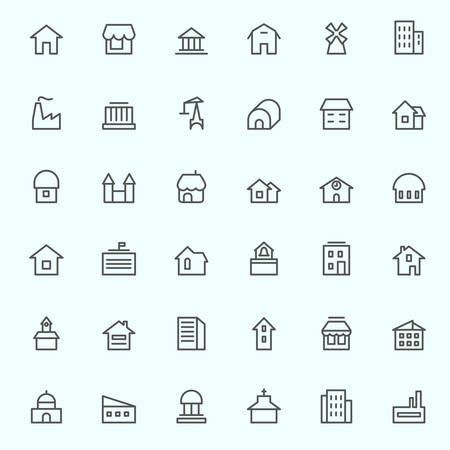real estate icons: Houses icons, simple and thin line design Illustration
