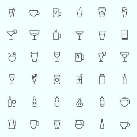 hot water bottle: Drink icons, simple and thin line design