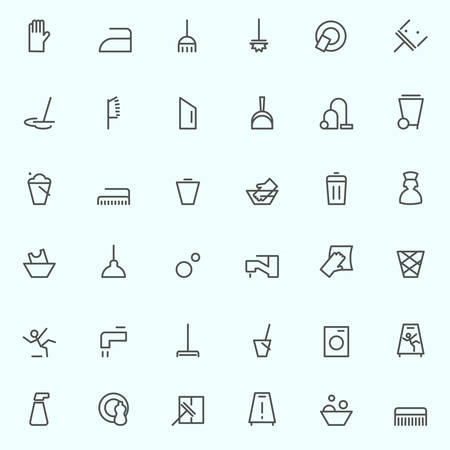 dusting: Cleaning icons, simple and thin line design