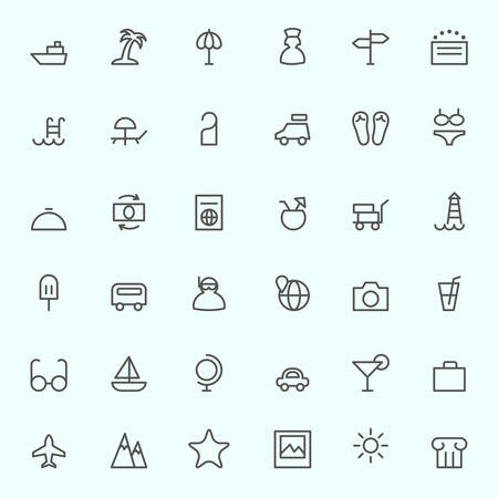 icône Voyage, simple et design mince ligne