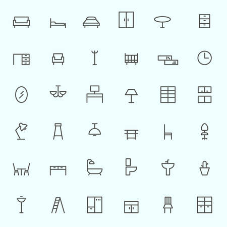 a toilet seat: Furniture icons, simple and thin line design Illustration