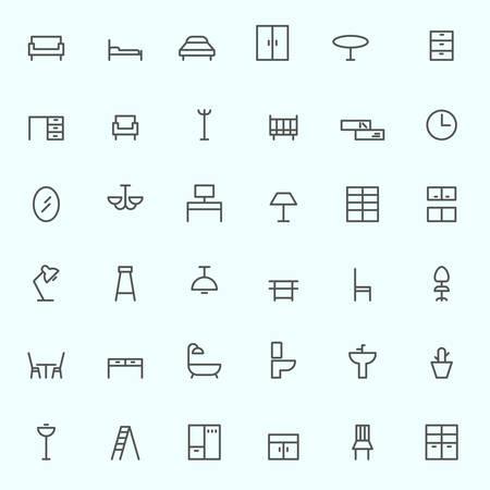 the seat: Iconos de los muebles, de diseño simple y delgada línea
