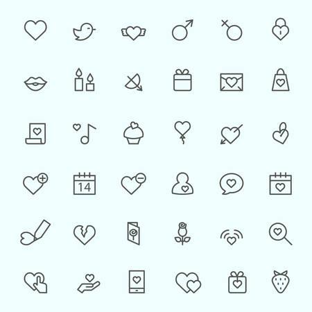 symbole: Fête des icônes de Saint-Valentin, la conception de la ligne simple et mince Illustration