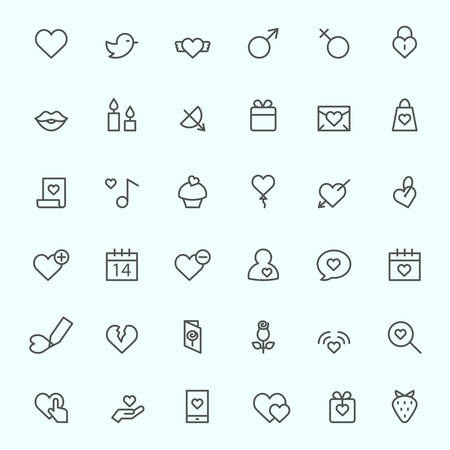 male: St. Valentines Day icons, simple and thin line design