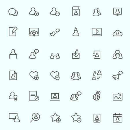 favorite: Social media icons, simple and thin line design