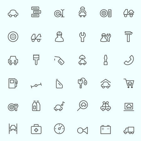breakage: Car service icons, simple and thin line design