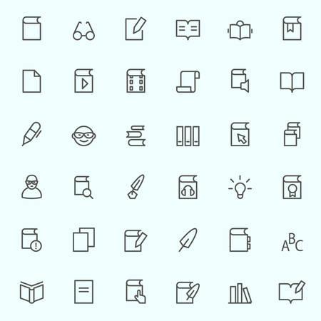 boeken pictogrammen, eenvoudig en dunne lijn ontwerp