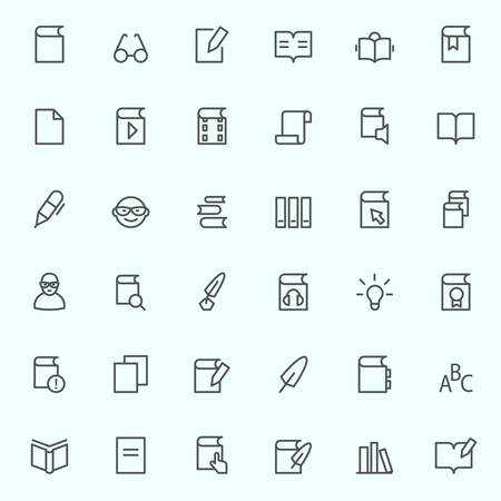 downloads: books icons, simple and thin line design Illustration