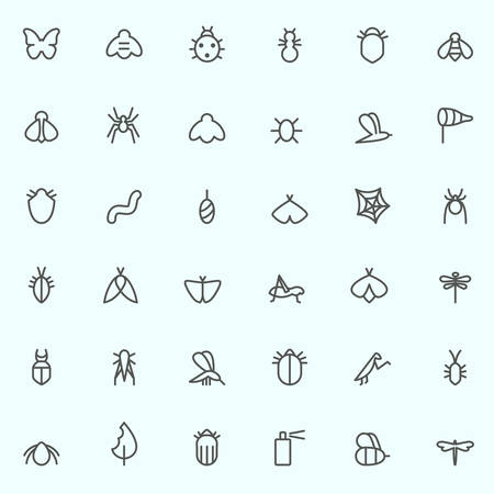 Insect icon set, simple and thin line design Illustration