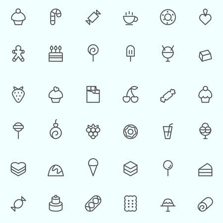 chocolate cupcake: Sweet pastry icons, simple and thin line design