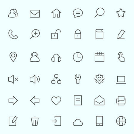 Icon set for web, simple and thin line design