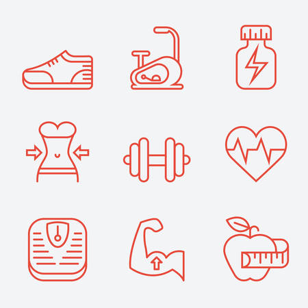 icon red: Fitness and sport icons, thin line style, modern flat design Illustration