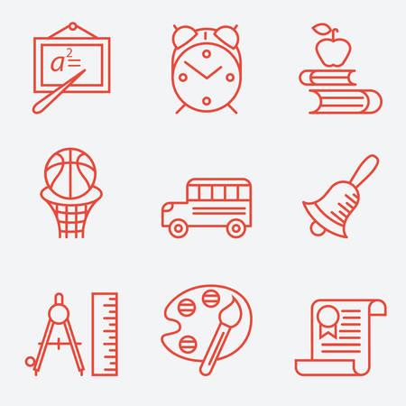 compasses: Education icons, thin line style, flat design Illustration