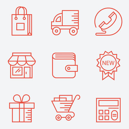 importer: Shopping icons. thin line style, modern flat design Illustration