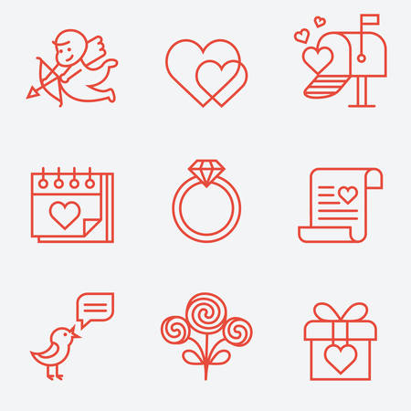 st  valentine's: St. Valentines Day icons, thin line style, flat design Illustration