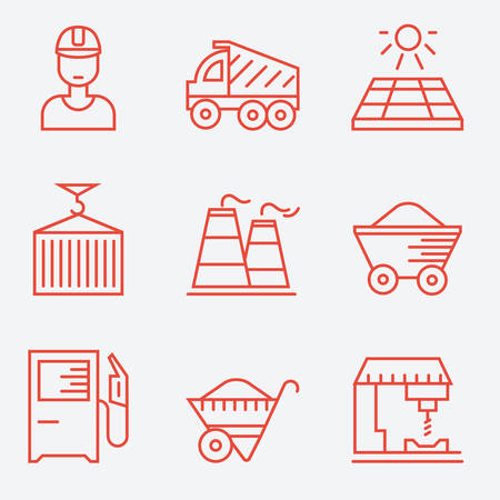 industry design: Industry icons, thin line style, flat design