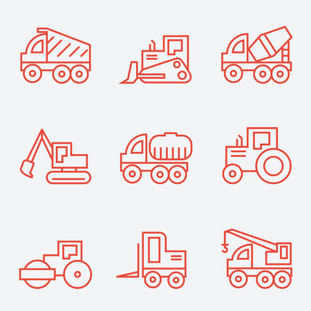 icon red: Machines, thin line style, flat design