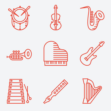 accords: Music instruments, thin line style, modern flat design